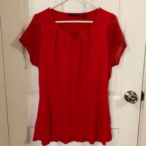 H by Halston Red Mesh Sleeve Top